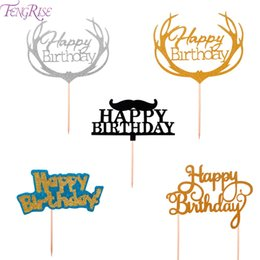gold candy boxes UK - FENGRISE 1st Happy Birthday Topper Cake Gold Glitter Cupcake Toppers First Birthday Cakes Party Decorations Kids Baby Shower