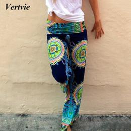 Discount low waist yoga pants - Vertvie Vintage Ethnic Printed Women Pants 2018 Wide Leg Pants Loose Straight Trousers Low Waist 4XL Yoga Pant Pilates L