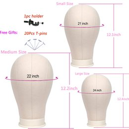 Foam wig heads online shopping - 21 Inch Inch Canvas Block Head with Stand Holder Training Mannequin Head Manikin Wig Making Head with Mount Hole with T pins