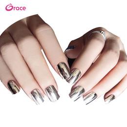 Nail Decorate Australia - B29 artifical false finger nail press on salon false nail decorated metallic false nail tips