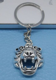 tiger key ring Canada - Fashion 20pcs lot Key Ring Keychain Jewelry Silver Plated Tiger head Charms