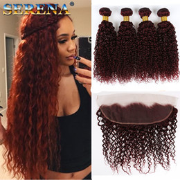 kinky curl human hair bundles closure 2019 - Burgundy Virgin Brazilian Human Hair Weaving 5 Pcs Curly Wine Red Hair Weave 99J Kinky Curl Hair Bundle curly Wave With