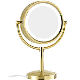 Wholesale GURUN x x Magnification Makeup Mirror with LED Lights Double Side Round Crystal Glass Standing Mirror Gold Finish M2208DJ