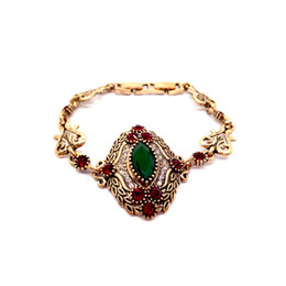 Bracelet Chain Solid Gold UK - 2018 women vintage turkish bracelet solid red christmas stones flower charms bracelet retro antique Gold-color alloy bracelet