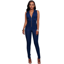 a12f0fad58a2 Wholesale Free Shipping Summer Women Slim Casual Denim One Piece Jumpsuits  Deep V Sleeveless Rompers Sexy Club Zipper Overalls