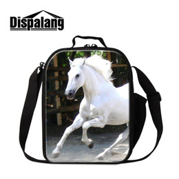 student lunch boxes UK - Horse Lunch Box for Students Portable Insulated Lunch Cooler Bag Thermal Container for Kids Children Messenger Meal Bag