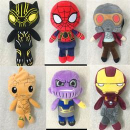 black men doll 2019 - Bestselling 20CM(8inch) Avengers 3 Infinity War plush dolls kids Thanos Iron Man spiderman deadpool 2 doctor Strange Bla