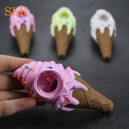 Crystal shisha online shopping - Ice cream Silicone Tobacco Smoking Cigarette Pipe Water Hookah Bong Crystal glass pipe Shisha Hand Spoon Pipes Tools With glass Bowl