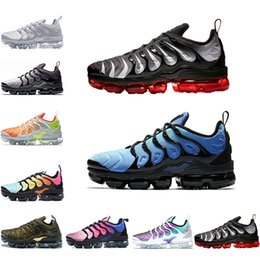 7fef8210fb3f 2018 Vapormax plus TN Mens Running Shoes Grape Cargo Khaki barely grey  bleached aqua Hyper Violet Volt Red Shark Tooth Sports Sneakers