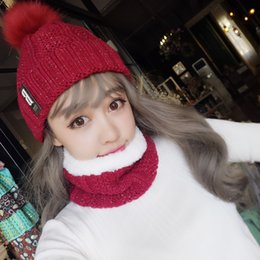 99974264397 Fashion Winter Hat Scarf Set For Women Girls Warm Beanies Ring Scarf  Pompoms Winter Hats Knitted Caps And Scarf 2 Pieces Set