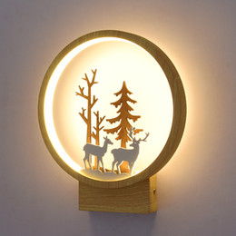 children room wall lamp Australia - Nordic Wall Lamp Round Small Elk Bedroom Bedside Lamp Children Room Applique Murale Luminaire Wall Lights LED