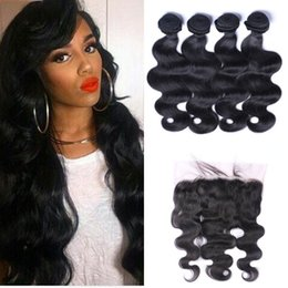 european hair bundles 2019 - Indian Human Hair Body Wave With Lace Frontal Closure 13*6inch Virgin Wavy 4 Bundles With Frontal discount european hair
