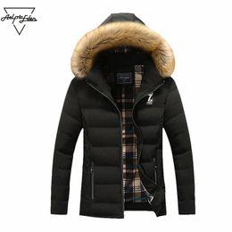 Discount mens thick fur coats - Aelfric Eden Men Fur Winter Jacket Men Hooded Coat Male Casual Coats Padded Waistcoat Fashion Faux Fur Collar Mens Jacke