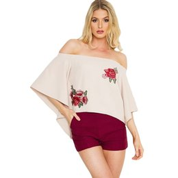 Cropped Tees Australia - 2017 Summer Off Shoulder T-Shirt Floral Embroidery Flare Sleeve Pullover Tops Irregular Hem Casual Loose Tee Beige XL Crop Top