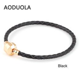 $enCountryForm.capitalKeyWord Australia - whole saleClassic Colors Genuine Leather DIY Bracelet Chain Gold-Color Clips Bracelets For Metal Glass European Big Hole Beads Charms