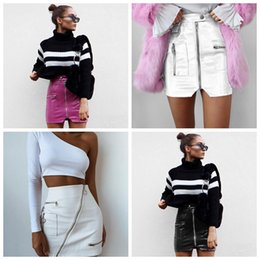 12abdd028 4 styles New PU Street Style A-Line Zipper Skirt Women's Summer Skirts High  Waist Fashion Short Skirt