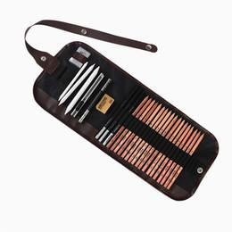 $enCountryForm.capitalKeyWord UK - 28Pcs Charcoal Earser Knife Drawing Pencil Sketch Painting Canvas Pencil Bag Set Christmas Gift for Kid