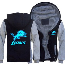 China Dropshipping New Detroit lion Sweatshirt team logo Warm Fleece Thicken hoody Jacket Zipper Coat Hoodies & Sweatshirts Up-to-date Jackets cheap lions logos suppliers