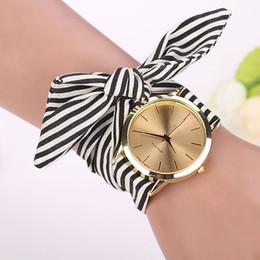 floral dial watch 2019 - women watches Stripe Floral Cloth Band Clock Dial Bracelet Quartz Wristwatch erkek kol saati Montre Femme 2017 discount