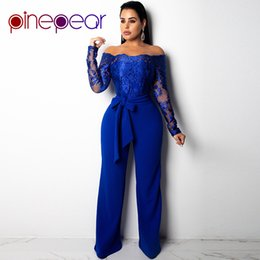 503c545525a PinePear New 2019 Royal Blub Elegant Off Shoulder Floral Embroidery Lace Jumpsuit  Women Sheer Long Sleeve Wide Leg Pants Romper