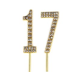 Wedding Anniversary Cupcakes Australia - Number 17 Cake Topper 17th Baby Birthday Wedding Anniversary Cupcake Topper Gold Alloy Meta with Glitter Crystals Cake Decoratio1