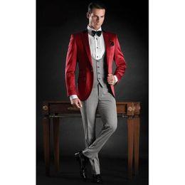 $enCountryForm.capitalKeyWord Australia - Latest Coat Pant Designs Red Grey Satin Italian Formal Men Suit Slim Fit Wedding Prom Blazers Custom Tuxedo (Jacket+Pants+Vest)