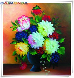 paintings vases Australia - Diy diamond painting cross stitch kit rhinestone mosaic home decor gift flower red rose vase full round&square diamond 5D embroidery cc027