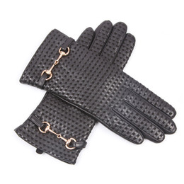 Discount men s leather driving gloves - Autumn Winter Woman Genuine Leather Gloves Imported Sheepskin Wool Lined Fashion Metal Button Driving Female Mittens EL0