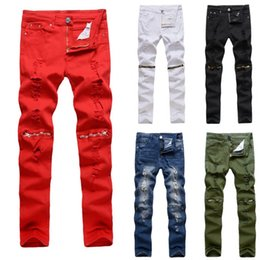 Discount red plaid pants plus size - Men's Jeans Casual Zipper Hole High Elastic White Red Black Blue Fashion Jeans Casual Style Solid White Male Skinny