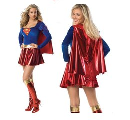 Discount adult women superhero costumes - Sexy Adult Supergirl Costume Cosplay 2017 Super Woman Superhero Sexy Fancy Dress with Boots Girls Superman Halloween Cos