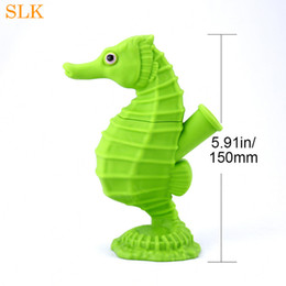 $enCountryForm.capitalKeyWord Australia - Hign times seahorse design silicone smoking pipes water blunt glass bowl concentrate dab rigs heady oil rig for wax dry herb vapor