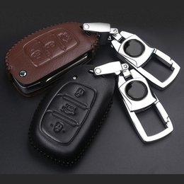 Discount ix35 car cover - Genuine Leather Key Case For Hyundai ix35 Tucson Santafe Car Smart Key Protect Cover Man Keychain Cap Sport Styling