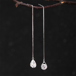 925 silver wire earrings 2019 - Hot 925 Sterling Silver Crystal Waterdrop Wire Earrings Ear Line Fashion S925 Jewelry Women Charming Fine Jewelry New PE