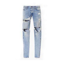 f89f56ddd5 2017 Mejor versión fear of god FOG hombre Selvedge zipper destruido flaco  slim fit justin bieber Vintage ripped blue denim jeans