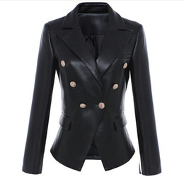 Wholesale New Style Top Quality Original Design Women's Slim Classic Leather Blazer Jacket Metal Buckles Double-Breasted Black Motorcycle Jacket Coat