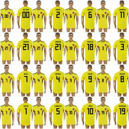 22874cc4e JAMES 2018 World Cup Colombia FALCAO 11 CUADRADO 3 MURILLO 21 CARDONA 18  PALACIOS 19 HERNANDEZ 4 RAMIREZ 5 W.BARRIOS Soccer Jersey