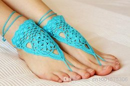 Wholesale hand Crochet white barefoot sandals Nude shoes Beach Sexy shoes bridal beach accessories white lace sandels