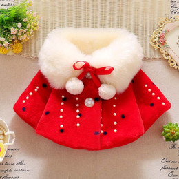 Girls Cotton Poncho Wholesale Australia - girls Woolen Cloak hot selling INS autumn winter new styles kids keeping warm Pearl cute pompon White plush collar Outwear 4 colors