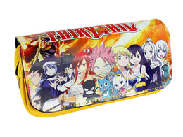 leather tail UK - Fairy Tail Pen Bag Purse Anime Naz Gray Large Capacity Double Zipper Pencil Case Stationery Leather Gift Boy Girl Cosmetic Bags