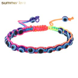 fashion strings bracelets UK - Fashion Resin Bead Evil Blue Eye Charms Bracelet Multicolor String Rope Braided Bangles Bracelets For Lovers Adjustable Length