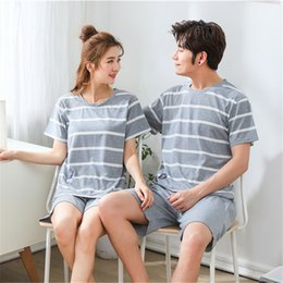 Sexy Cartoon Couples Australia - Yuzhenli Casual Couple Pajama Sets For Women Men Cotton Cartoon Pajamas Pijama Girls Cute Short Sleeve Shorts Sleepwear Summer