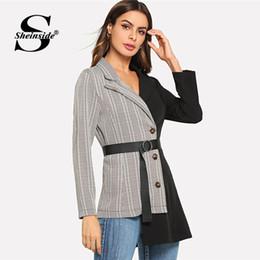 Ties Long NZ - Sheinside Plaid Black Notched Workwear Blazer Office Ladies Belted Tied Asymmetric Hem Long Sleeve Women Autumn Elegant Blazer
