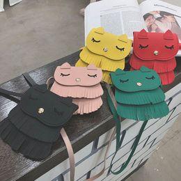 $enCountryForm.capitalKeyWord NZ - New Mini PU Bags Children Cross-body Shoulder Messenger Bag Cat Shape Baby Girls Tassel Purse Handbag Bag Cross Body Tassel Tote Purse