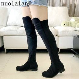 Stretch Over Knee Boot Canada - Womens Faux Suede Leather Winter Shoes Lady Over The Knee Long Boots Woman Black Winter Boot Stretch Thigh High Boots Shoe Women