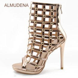cage heels 2020 - ALMUDENA Women Sexy Cage Middle Boots Peep Toe Cut-out Motorcycle Sandal Boots Mid-calf Gold Studded Stiletto Heel Sanda