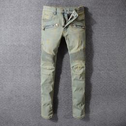 2a130d2e Balmain Fashion Men's Distressed Ripped Jeans Famous Fashion Cool Designer  Slim Motorcycle Biker Causal Denim Pants Runway Jeans
