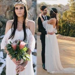 Plus size emPire waist gowns online shopping - Bohemian Beach Wedding Dresses For Pregnant Women Lace Chiffon Bohemian Wedding Dress Empire Waist A Line Wedding Bridal Gowns Cheap