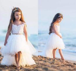 e9f60924eb9 Wholesale 2018 Lovely Ivory Sheer Neck High Low Flower Girl Dresses Cap  Sleeves Lace Tulle Little