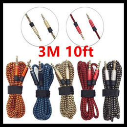 Wholesale iphone fabric braided cords resale online - 3 mm Auxiliary AUX Extension Audio Cable Unbroken Metal Fabric braided Male Stereo cord M M for iphone Samsung MP3 Speaker Tablet