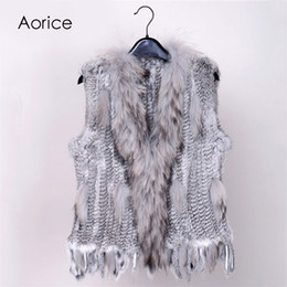 bfb0a01ca6 Black Rabbit Vest Canada - 18 colors Women Genuine Knitted Rabbit Fur Vests  with tassels Raccoon